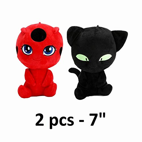 PAPRING Miraculous Toys 5/7 inch Ladybug Cat Noir Tikki Plagg Big Plush Huggable Toy Large Stuffed Gift Christmas Halloween Birthday Gifts Cute Doll Animal New Collectibles for Kids (2 pcs - 7