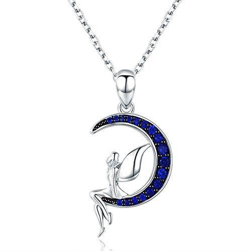 (BISAER Sterling Silver Fairy of Night Pendant Necklace with Blue Round Cubic Zirconia Jewelry Gift for Women Girl (Length 14.96 Inch - 18 Inch))