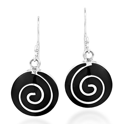 Round Maze Whirl Reconstructed Black Onyx .925 Sterling Silver Dangle Earrings ()