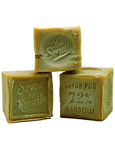 (Pack of 2) Authentic Marseille soap Handcrafted 300g 72% olive oil - Cube Savon de Marseille Traditional 300g 72% Huile d'olive (Lot de 2) Le Serail