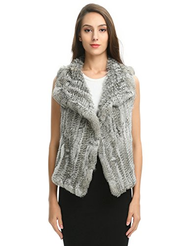 Genuine Rabbit Fur Vest (Ferand Women's Elegant Soft Rabbit Knit Fur Winter Vest In Waterfall Design, Natural Grey, Medium)