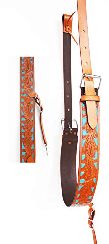 (PRORIDER Horse Western Leather Tooled Back Rear Cinch Flank Girth w/Off Billets 9761A)