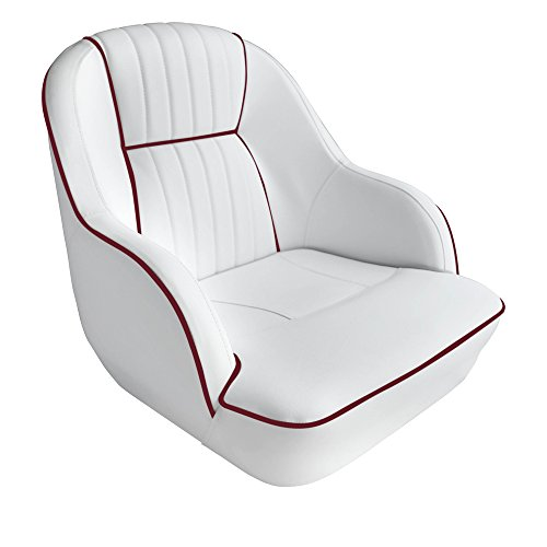 ontoon Captains Bucket Seat Boat Seat (White/ Dark Red piping) (Flip Flop Seat Covers)