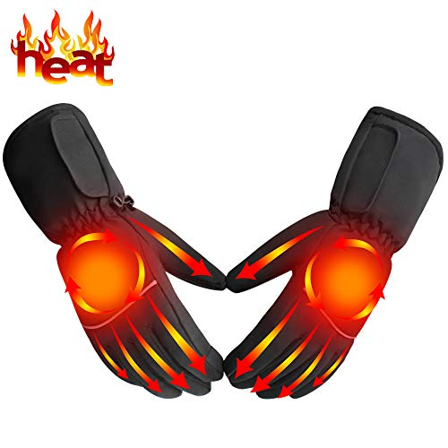 Heated Gloves Battery Powered Heat Gloves Rechargeable Heating Gloves Kit Unisex,Touchscreen Sports Outdoor Recreation Heated Gloves Waterproof Climbing Hiking Camping Handwarmer,Black by Autocastle