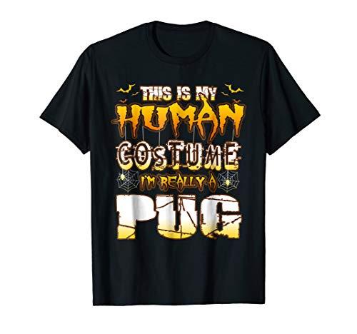 Vintage Pug Human Costume Halloween Bat T-shirt