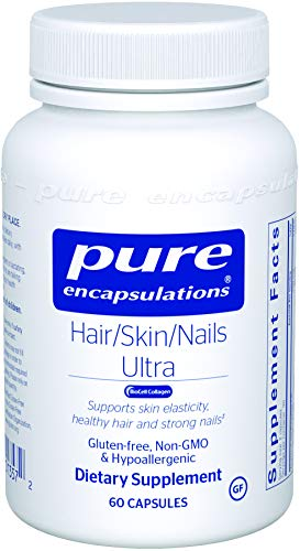 Pure Encapsulations - Hair/Skin/Nails Ultra - Hypoallergenic Supplement Supports Skin Elasticity, Hydration, Hair, and Nails* - 60 (Hair Skin Nails Supplement)