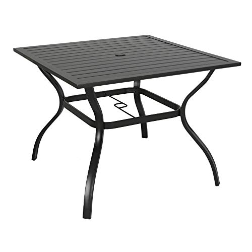Iwicker Patio Square Steel Dining Table with Umbrella Hole