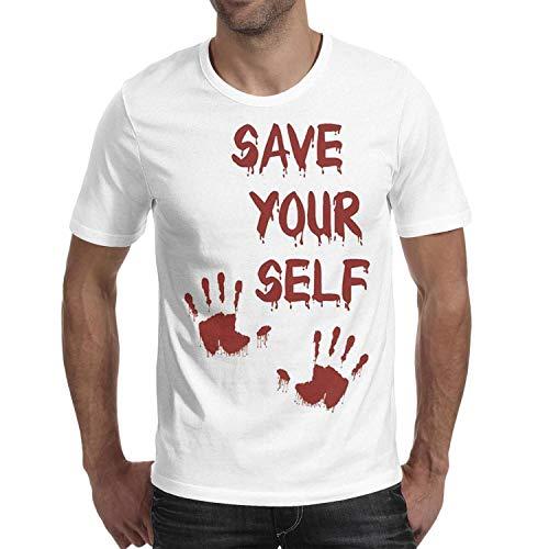 Save Your self Halloween Blood Men's t Shirts Novelty Man Halloween Costume t Shirt ()