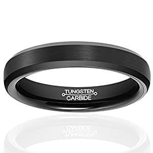 HSG Tungsten Rings for Men Wedding Engagement Band Brushed Black 4mm Size 7-13