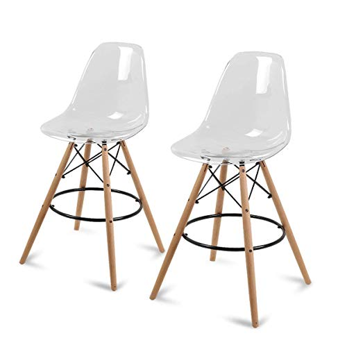 Magshion Set of 2 Counter Height High Island Stool Patio Dining Bar Pub Chairs, Clear
