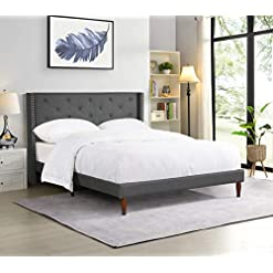 Bedroom YALISI Classics Cloth Gray Linen/Premium Linen Upholstered Platform Bed Frame /Modern Design/Mattress Foundation/Strong… modern beds and bed frames