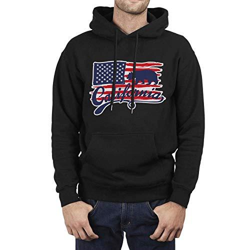 (California Bear Flag American Flag Young Men Black Hoodie Sweatshirt Fleece College Long Sleeve)