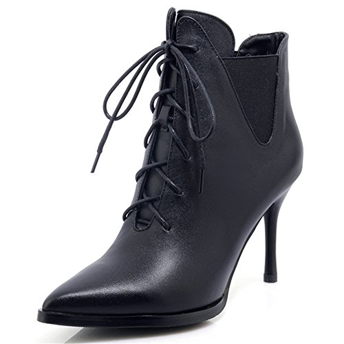 Toe Stiletto Black Ankle Heel Nine Boot Cow Up Lace Leather Seven Women's Sexy Pointy Handmade YCXYUcxHwq
