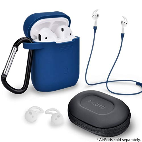 Airpods Accessories Set, Filoto Airpods Waterproof Silicone Case Cover with Keychain/Strap/Earhooks/Accessories Storage Travel Box for Apple Airpod (Navy Blue)