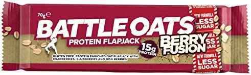 Battle Oats High Protein, Gluten Free Flapjacks x 12 12 bars Berry Fusion