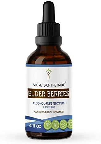 Secrets of The Tribe Elder Berries Alcohol-Free Tincture Glycerite 678 mg Organic Elder Berries Sambucus Nigra Dried Berry 4 Fl Oz Immune Support Supplement