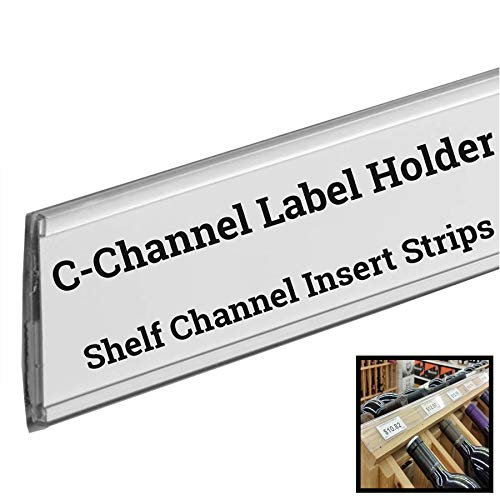 "Stick on C Channel Insert Strip, 48"" L Adhesive Wood Metal & Plastic Shelf UPC Label Holder, 100 Pack"