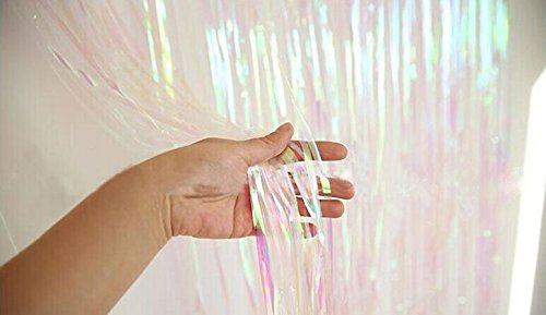 ShinyBeauty Foil Fringe-Backdrop-Transparent White-3FTX8FT Metallic Door Window Curtain Party/Birthday/Wedding Decoration