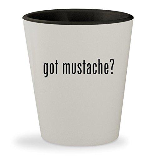 got mustache? - White Outer & Black Inner Ceramic 1.5oz Shot - Black Mustache Handlebar Sunglasses