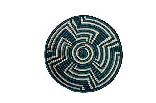 African Gift Shop| Rwanda Basket Bowl | Designer Green Color Fruit Basket Bowl | Size 12inches | Handcrafted Weaved Basket Bowl| Woven Bowl|Sisal & Sweetgrass Basket | Round Basket (Big Stone) ()