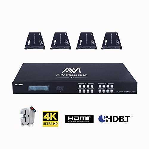 Switcher A/v Matrix (AVI HDBaseT HDMI 2.0 HDCP 2.2 4K 4X4 HDMI Matrix Extender Switcher with 4 POE Receivers Over Single Cat5e/6 Cable Supports Ultra HD 3D 60HZ @ 4Kx2K with Bi-Directional IR (Matrix+4receivers))