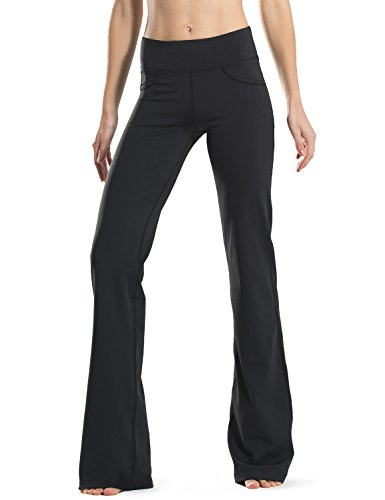"Safort (28""/30""/32""/34"" Inseam Regular/Tall Bootcut Yoga Pants(3 Colors), 4 Pockets, Pockets, Long Bootleg, Flare Pants, Black, L"
