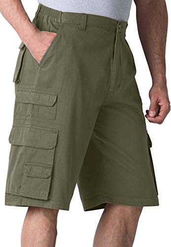 Boulder Creek Side-Elastic Twill Cargo Shorts, Olive Big-52 ()