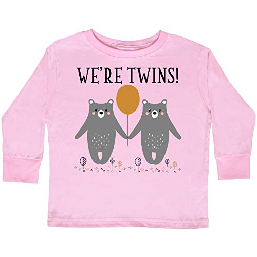 (inktastic - Twins Baby Woodland Bears Toddler Long Sleeve T-Shirt 3T Pink 35598)