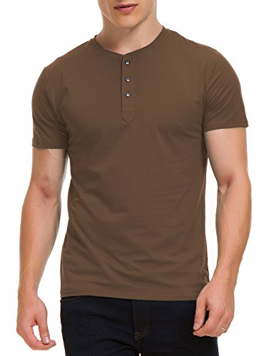 - Boisouey Men's Casual Slim Fit Short Sleeve Henley T-Shirts Cotton Shirts Brown XL