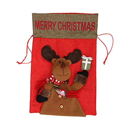 - Xuxuou Christmas Gift Treat Bags Snowman Drawstring Pouch Candy Bag Stocking Xmas Party Gift Bags 1Pcs