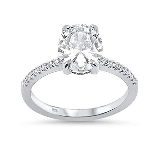 Blue Apple Co. Solitaire Accent Oval Engagement Ring Dazzling Round Oval Simulated Cubic Zirconia 925 Sterling Silver, Size-5 (Fake Oval Engagement Rings)