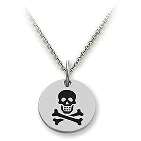 Stellar White Skull and Crossbones Disc Pendant Necklace w/Chain - Crossbones Slide Charm