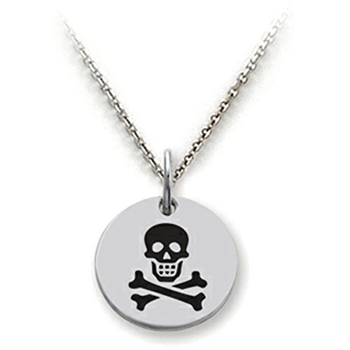 Stellar White Sterling Silver Skull and Crossbones Disc Pendant Necklace Chain Included