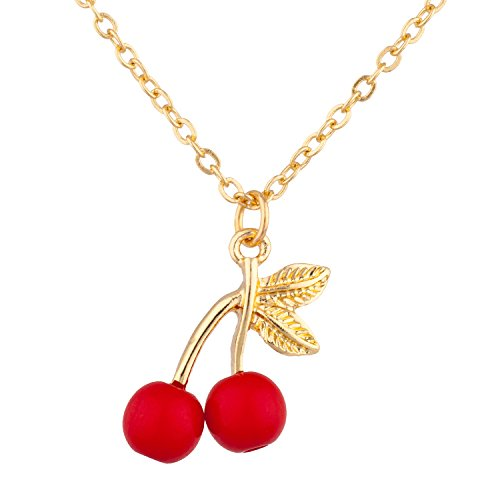 (Lux Accessories Gold Tone Cute Tiny Red 3D Cherries Leaves Charm Chain Necklace)