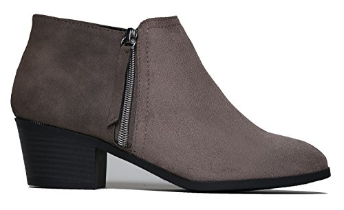 Casual Western Closed Adams Low Heel Bootie Taupe Toe Lexy Ankle Stacked Uzona J Boot qfxSRwvzx