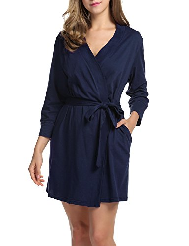 DonKap Women's Waffle Weave Kimono Bathrobe Belted Spa Robe Knee-length Sleepwear Navy Blue (Belted Waffle)