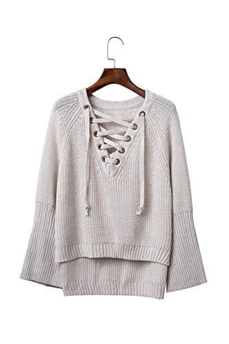 Taiduosheng Womens Ribbon Neck Soft Knit pagoda sleeve Pullover Sweater White Grey