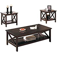 Poundex 3-Piece Coffee Table, Cappuccino