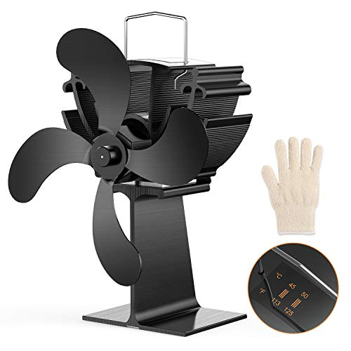 Dr.meter 4-Blade Stove Fan, Heat Powered Stove Fan with Built-in Temperature Gauge for Pellet/Wood Burning Stove, Fireplace, Circulation Projects to Disperse Warm Air Through House, Gloves Included