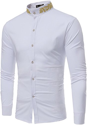 Sportides Men's Casual Long Sleeve Slim Fit Embroidery Stand Collar Dress Shirt Tops JZA124 White XL