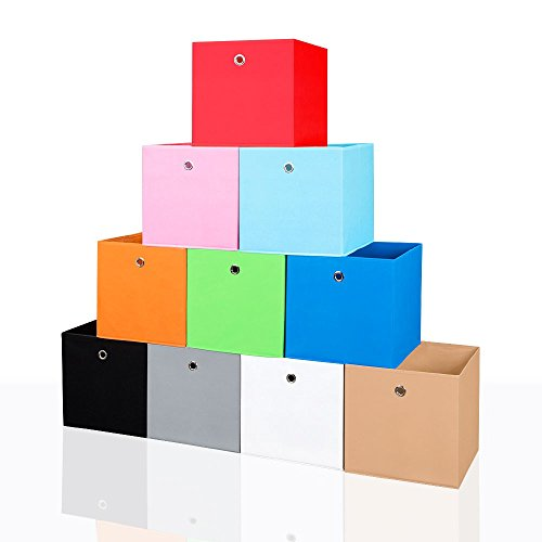 Faltbox Faltkiste Regalkorb Regalkiste Regalbox Aufbewahrungsbox Spielkiste Staubox Korb, Farbe:rot 32*32