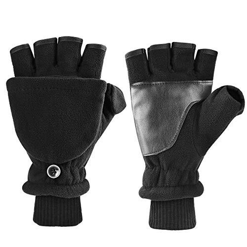 Kungber Fingerless Gloves for Women Men, Winter Gloves for Women Men,Warm Gloves Windproof Polar Fleece Genuine Soft with Mitten Cover (L) ()