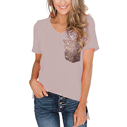 Shusuen Women's Basic V Neck T Shirt with Sequin Pocket Plus Size Tee Tops Blouse Beige