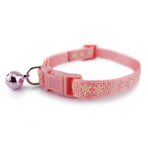 Laugh Cat Luminous Snowflake Pattern Knitting Collar With Bell Adjustable For Cat Medium Size (Pink) (Snowflake Knitting Pattern)