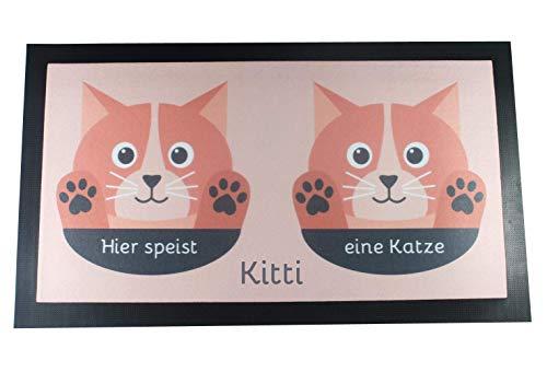 Napfunterlage für Katze oder Kater mit Name – orange