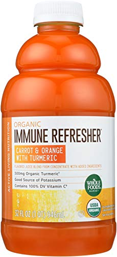 Whole Foods Market, Organic Immune Refresher, Flavored Juice Blend from Concentrate, Carrot & Orange with Turmeric, 32 fl oz ()