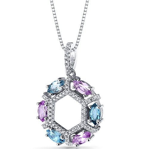 Pink Topaz Cluster - Created Pink Sapphire and Swiss Blue Topaz Hexagon Pendant Necklace Sterling Silver 1.5 Carats