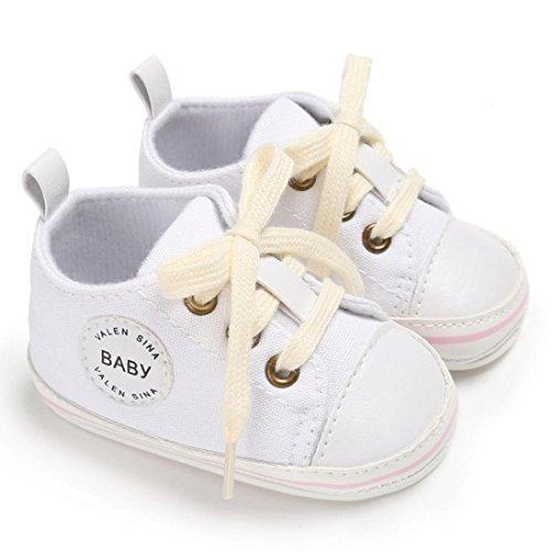 Hunpta Kleinkind Mädchen Jungen Krippe Neugeborene weiche alleinige Anti Rutsch Baby Segeltuch Schuh Turnschuhe Weiß