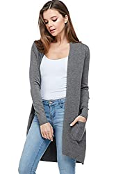Alexander David Sweaters For Women Basic Open Front Knit Cardigan Sweater Top W Pockets Charcoal Small Medium
