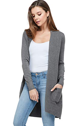 Cardigan Grey Cotton - Alexander + David Sweaters for Women Basic Open Front Knit Cardigan Sweater Top w/Pockets (Charcoal, Small/Medium)